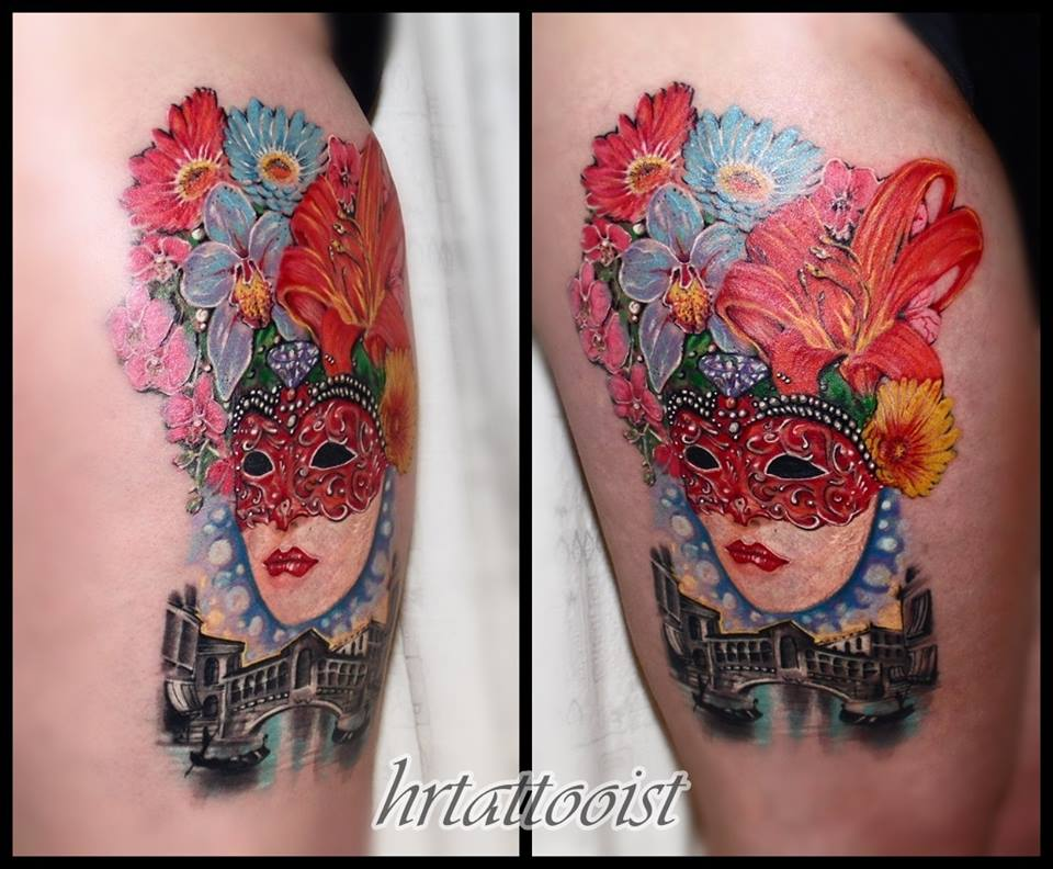 Lovely Venetian Mask Tattoo Design