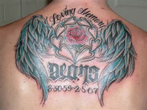Loving Memory Memorial Tattoo On Back