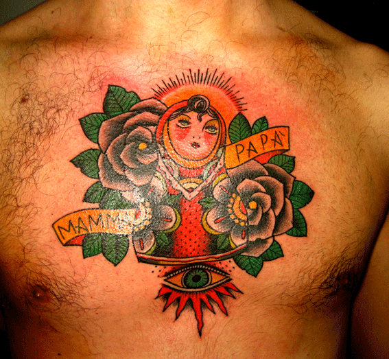 Mamma Papa Matryoshka Tattoo On Chest