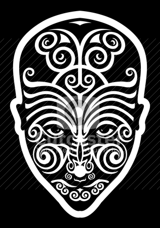 Maori Mask Tattoo Design Over Black Background