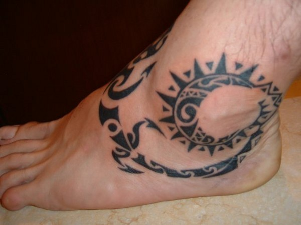 Maori Sun Lizard Tattoo On Ankle