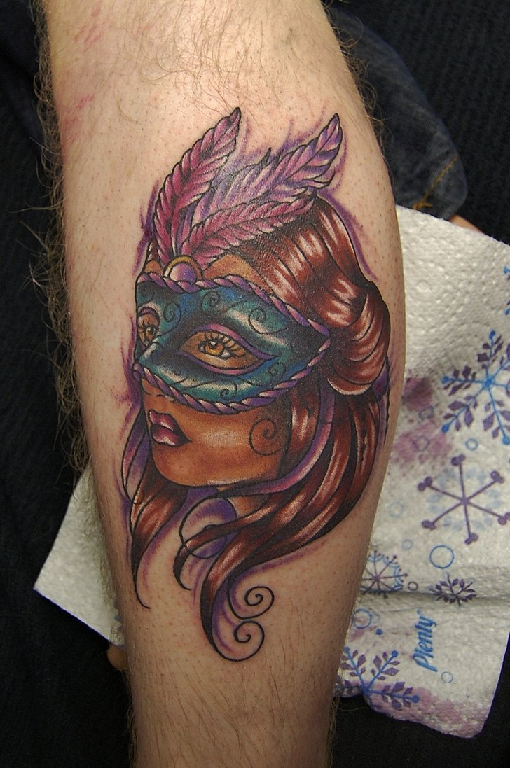 Masked Girl Tattoo Design