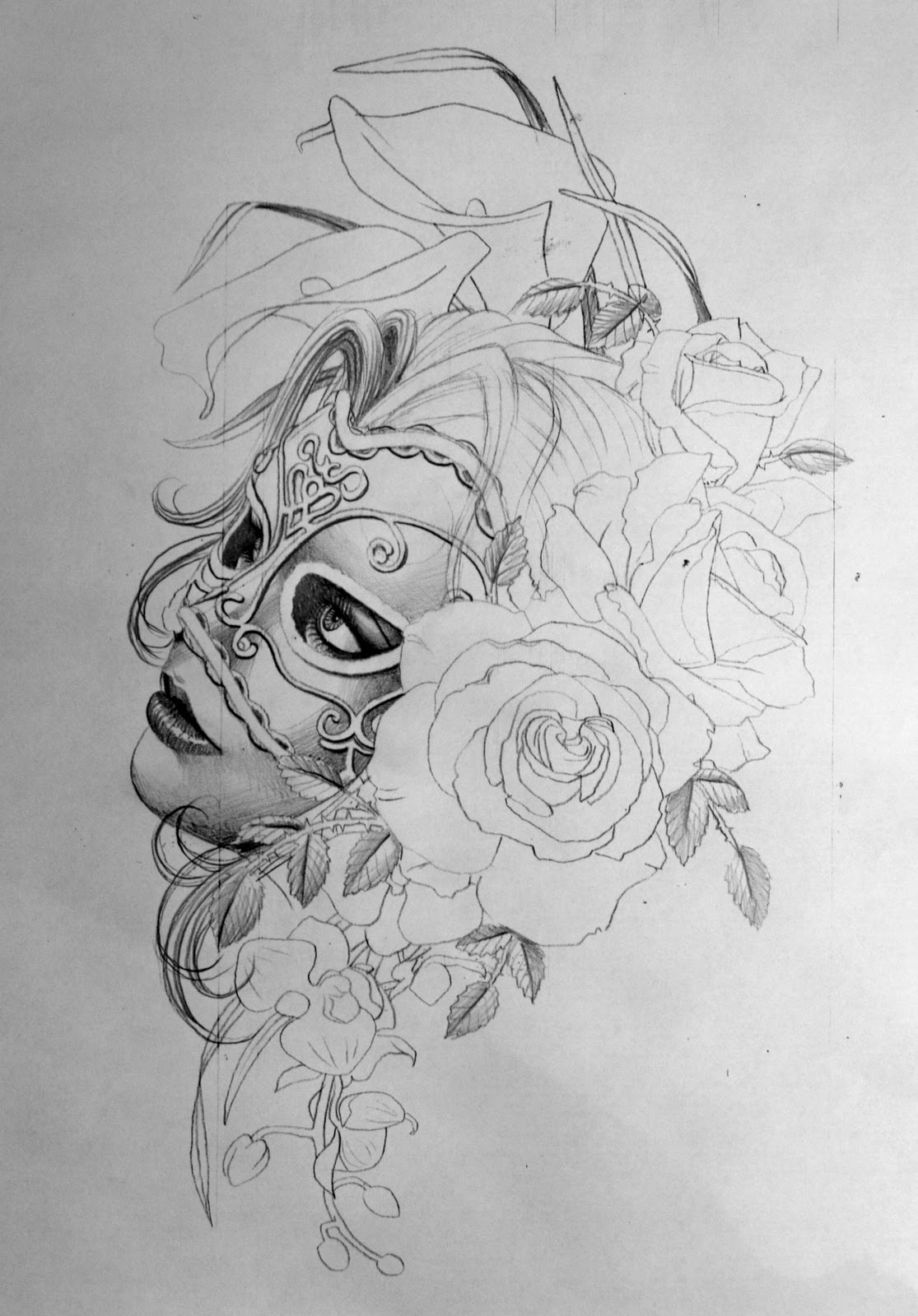 Masked Girl Tattoo Sketch