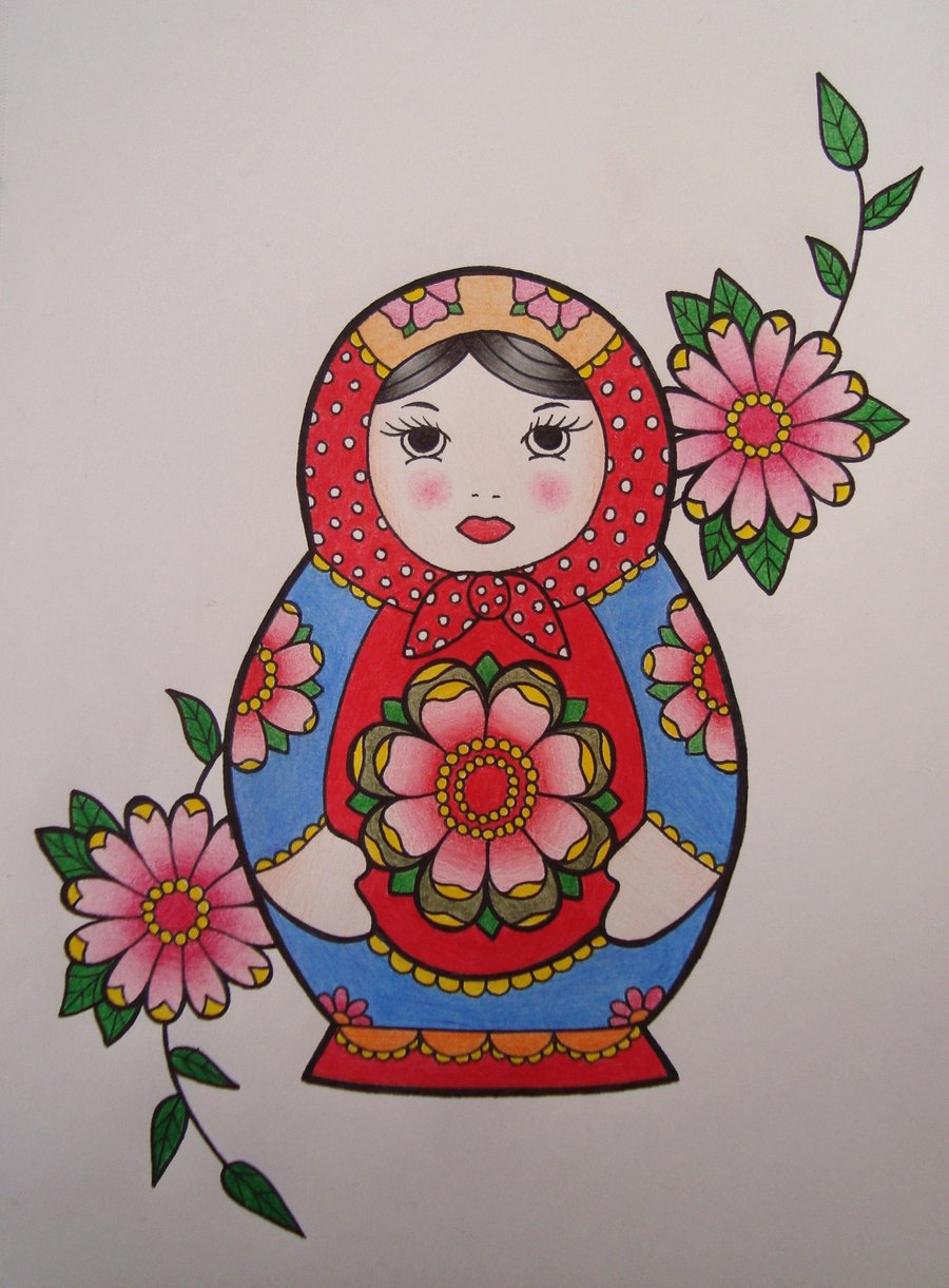 Matryoshka Doll And Flowers Tattoo  Flash