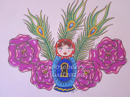Matryoshka Doll Peacock Feathers And Flowers Tattoo Designs