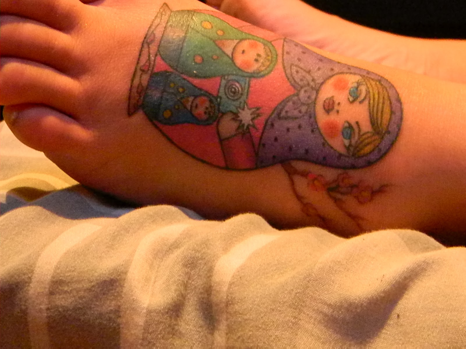 Matryoshka Doll Tattoo On Foot