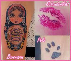 Matryoshka Lips And Paw Print Tattoo Designs