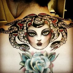 Medusa Head And Blue Roses Tattoo Designs On Back