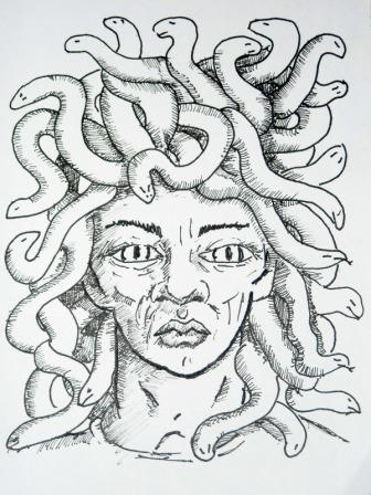 Medusa Head Tattoo Flash