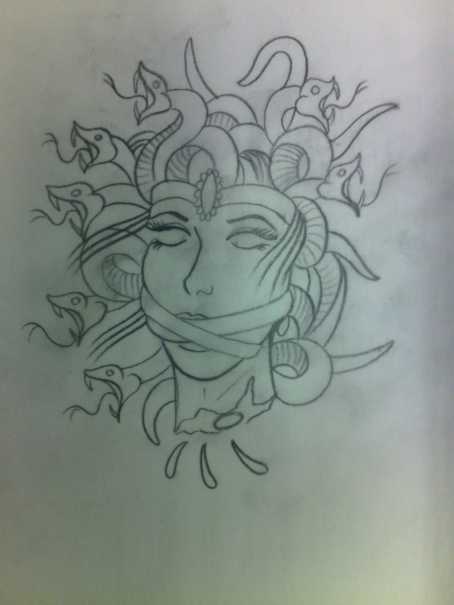 Medusa Outline Tattoo Flash
