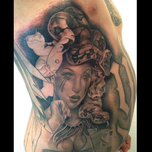 Medusa Portrait Tattoo On Rib Side For Men