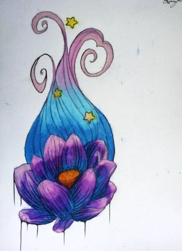 Melting Lotus Tattoo Design