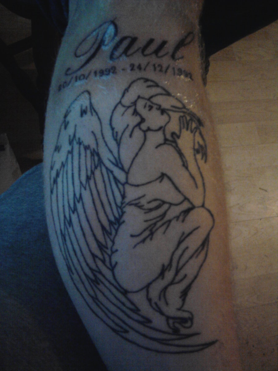 Memorial Angel Outline Tattoo