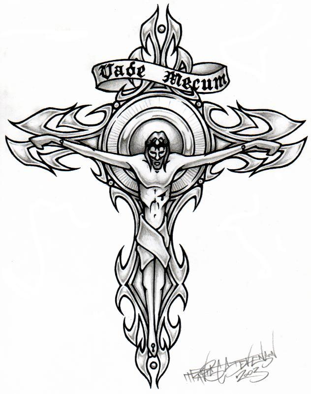 Memorial Christ Cross Tattoo Sample