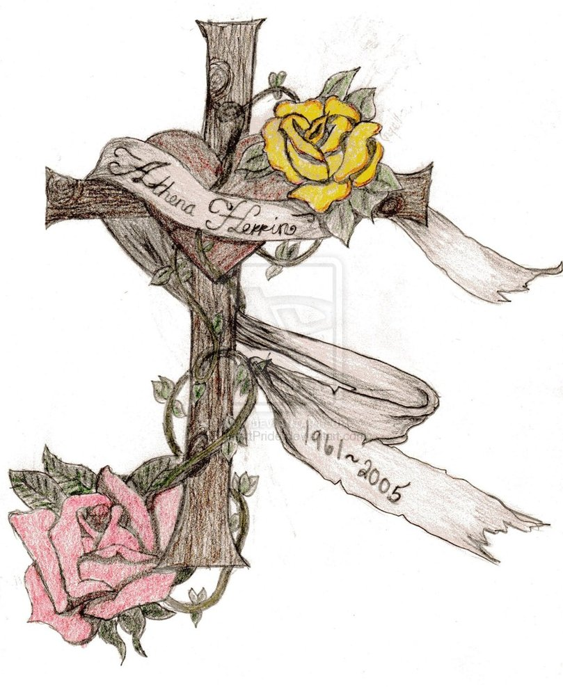 Memorial Cross And Roses Tattoo Design