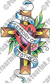 Memorial Cross Banner Tattoo