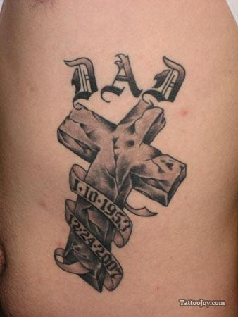 Memorial Cross Dad Tattoo Design