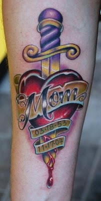 Memorial Dagger Heart Tattoo For Mom