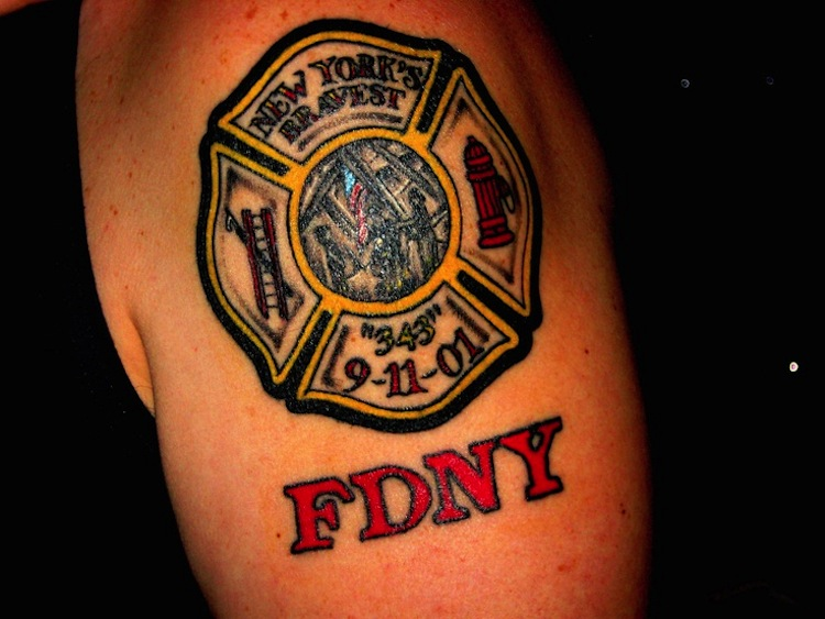 Memorial Fire Fighter Tattoo On Shoulder For Men