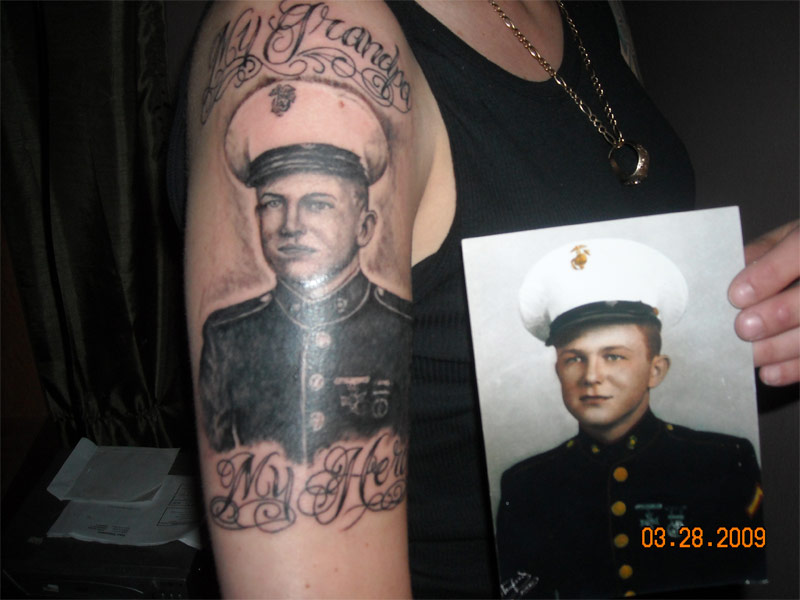 Memorial Grandpa Portrait Tattoo On Arm