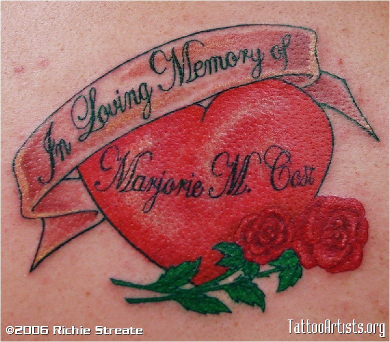 Memorial Heart And Roses Tattoo Design