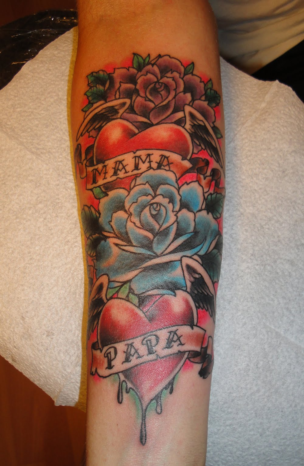 Memorial Heart And Roses Tattoo On Arm