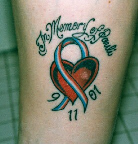 Memorial Heart With Ribbon Tattoo Design