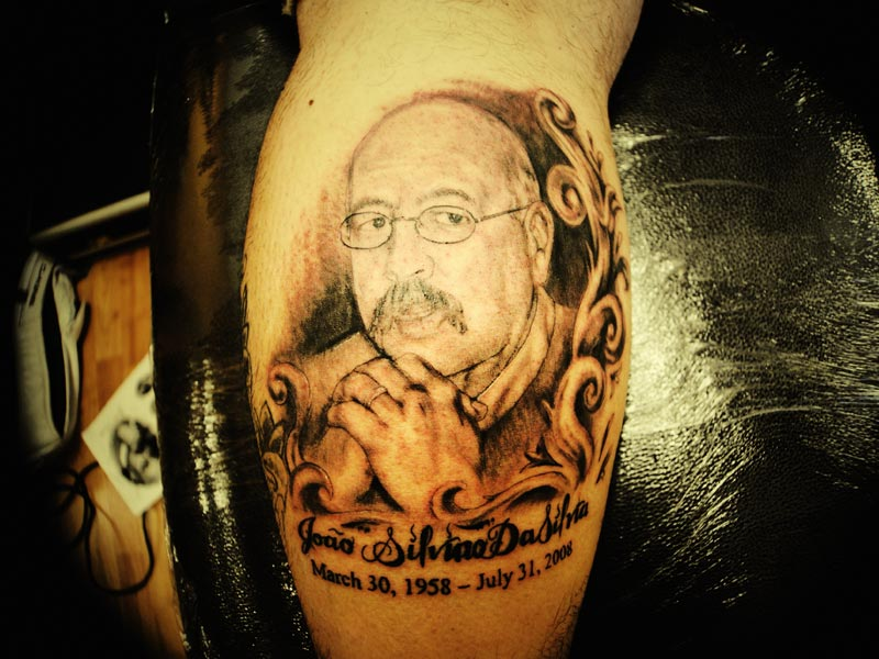 Memorial Portrait Tattoo On Leg