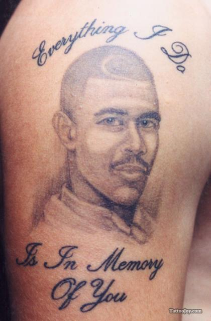Memorial Portrait Tattoo On Muscles