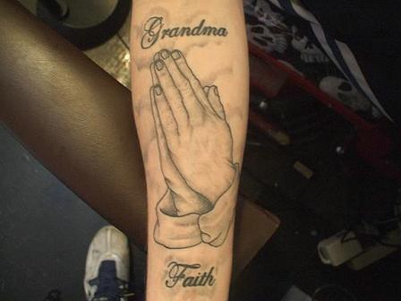 Memorial Praying Hands Tattoo On Arm