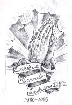 Memorial Praying Hands Tattoo Sketch