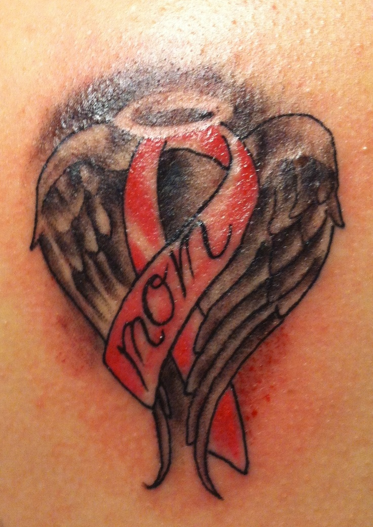 Memorial Wings And Breast Cancer Ribbon Tattoo