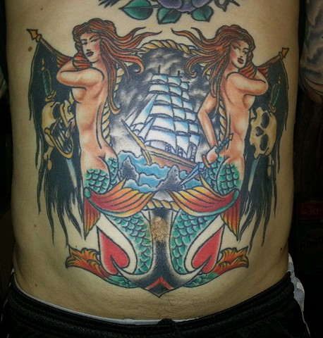 Mermaid Anchors Ship And Skull Tattoos On Stomach
