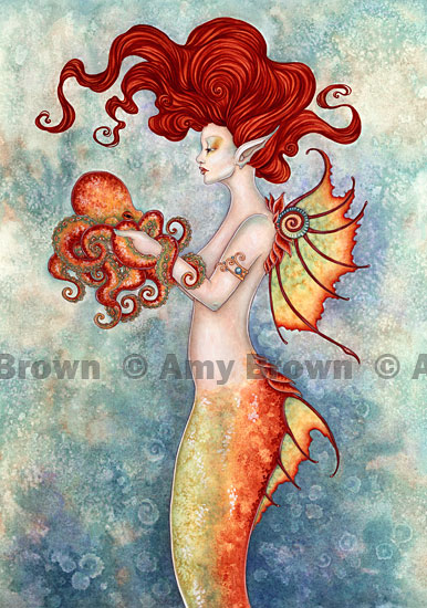 Mermaid And Octopus Tattoo Poster