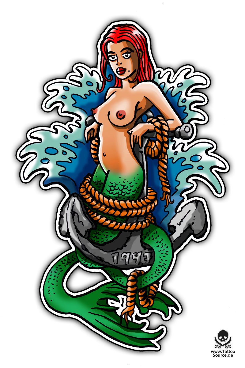 Mermaid And Waves Tattoo Flash