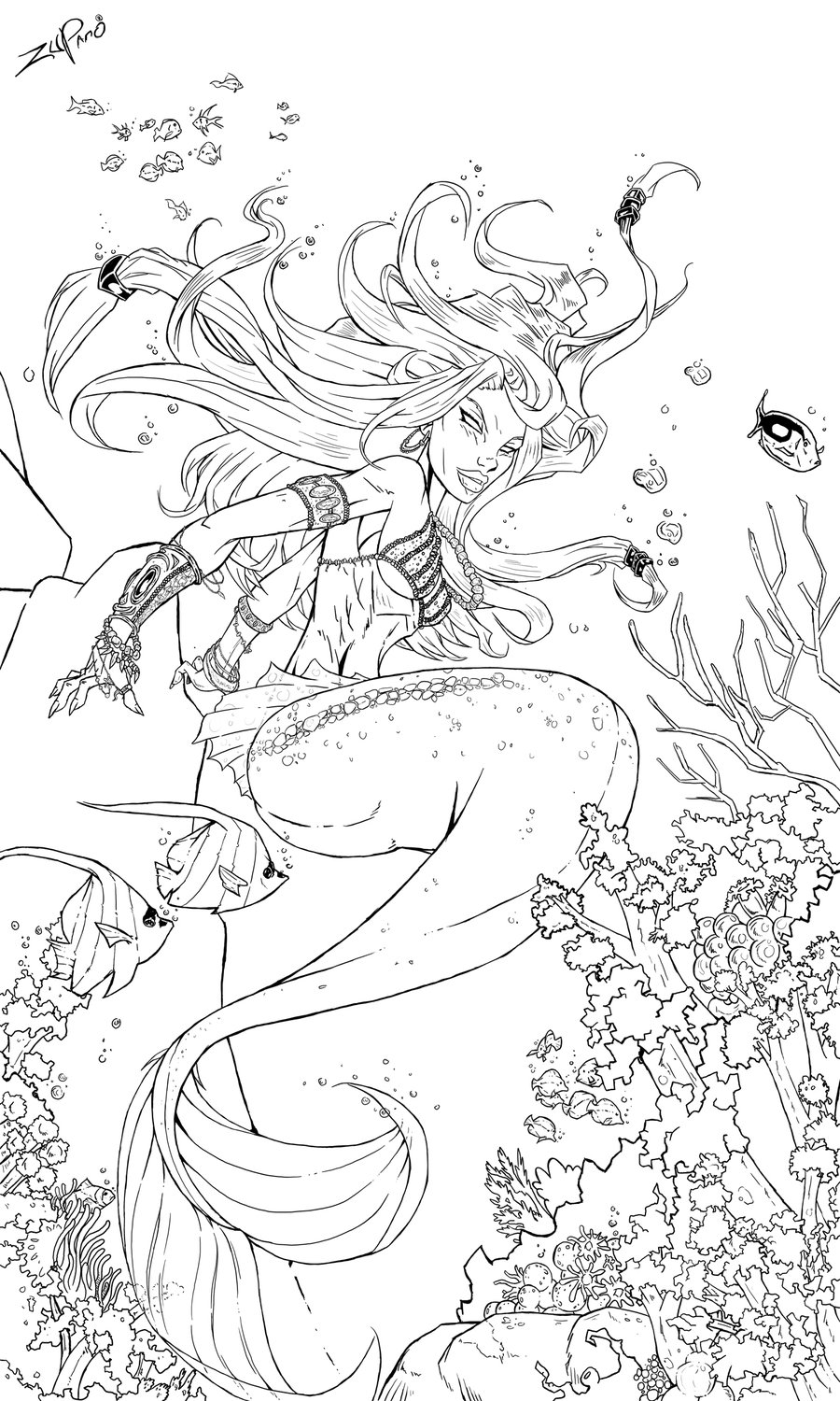 Mermaid Line Art Tattoo Design