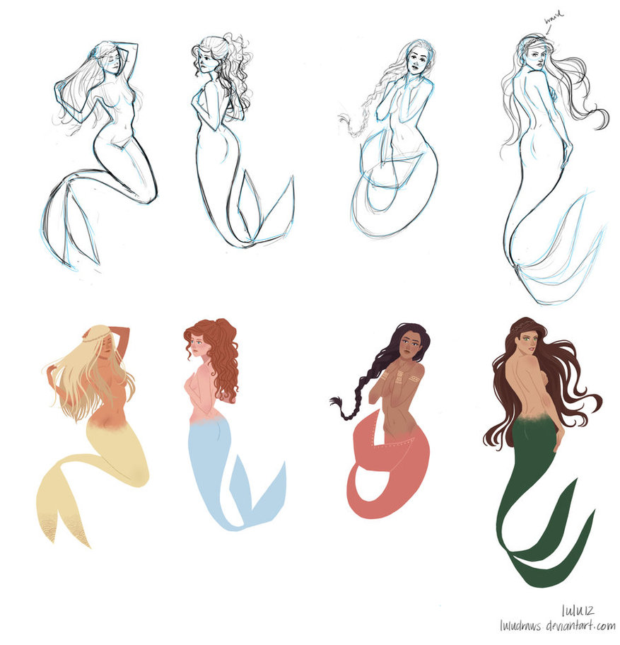 Mermaid Tattoo Drawings And Designs