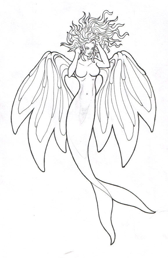 Mermaid Tattoo Lineart