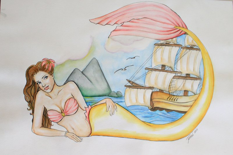 Mermaid With Pirate Ship Tattoo Design