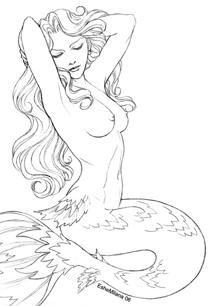 Mermaid Without Color Tattoo Design