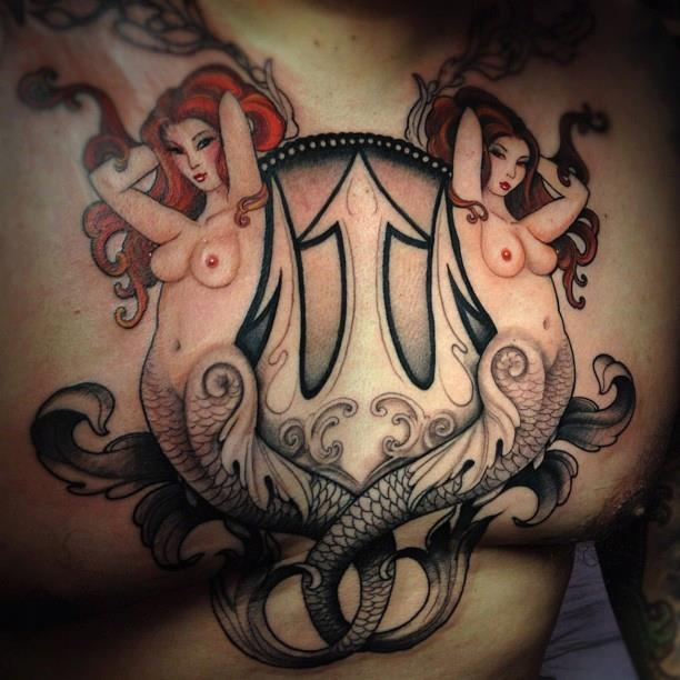 Mermaids And Anchor Chest Piece Tattoo For Men