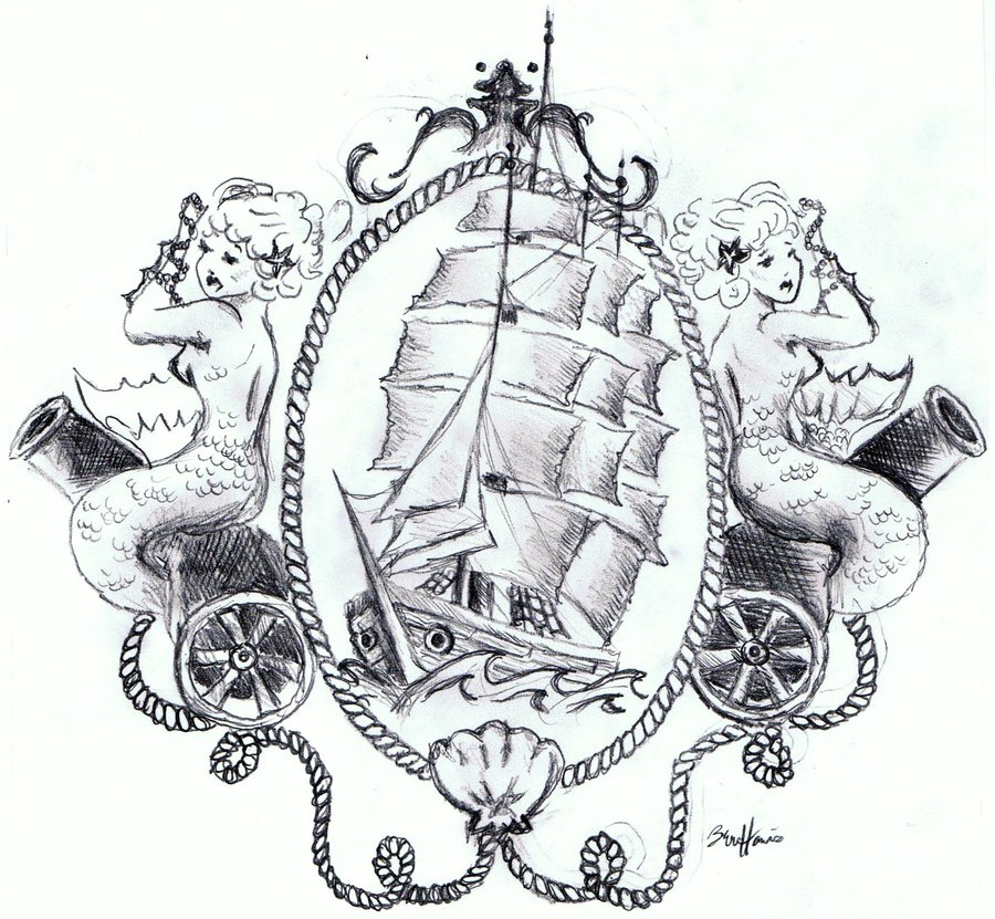 Mermaids And Pirate Ship Tattoo Design