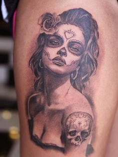 Mexian Skull Woman Tattoo Design