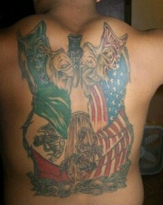 Mexican And US Flag Tattoo On Back Of Body