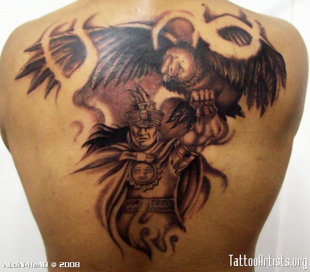 Mexican Aztec Tattoo On Back Body