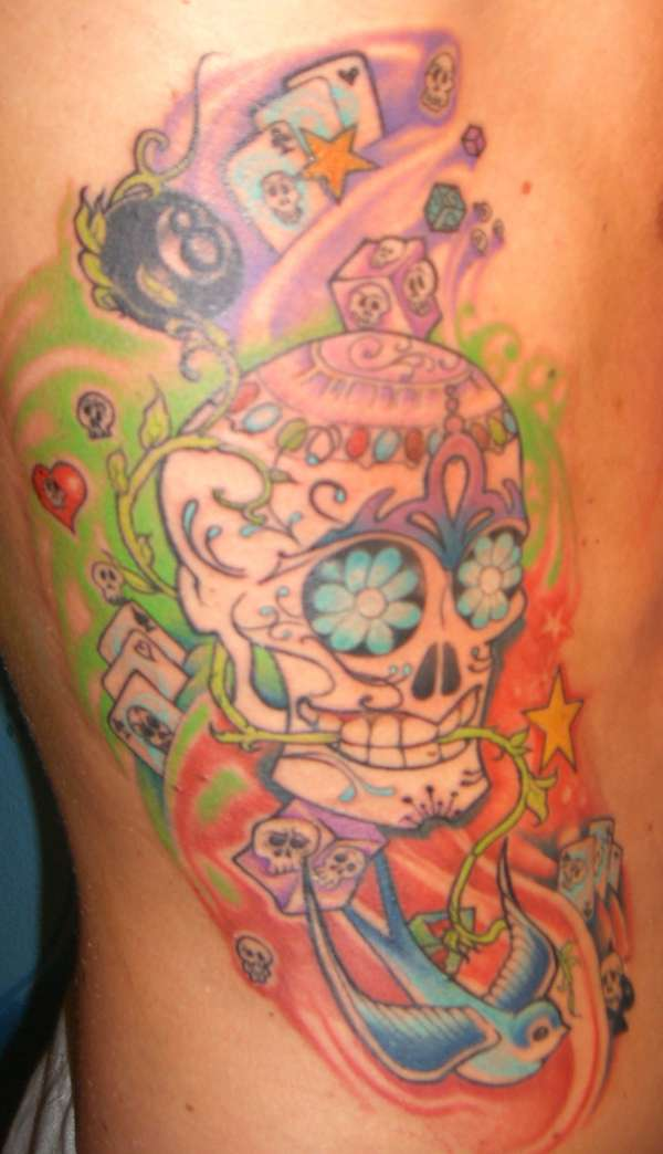 Mexican Candy Skull Tattoo On Side