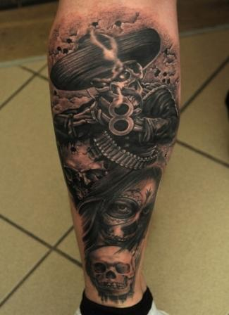 Mexican Dead Soldier Tattoo On Leg