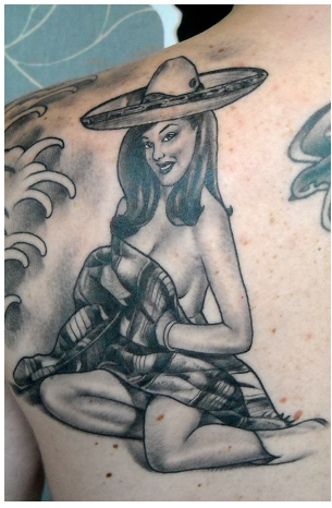 Mexican Girl Tattoo On Back Shoulder