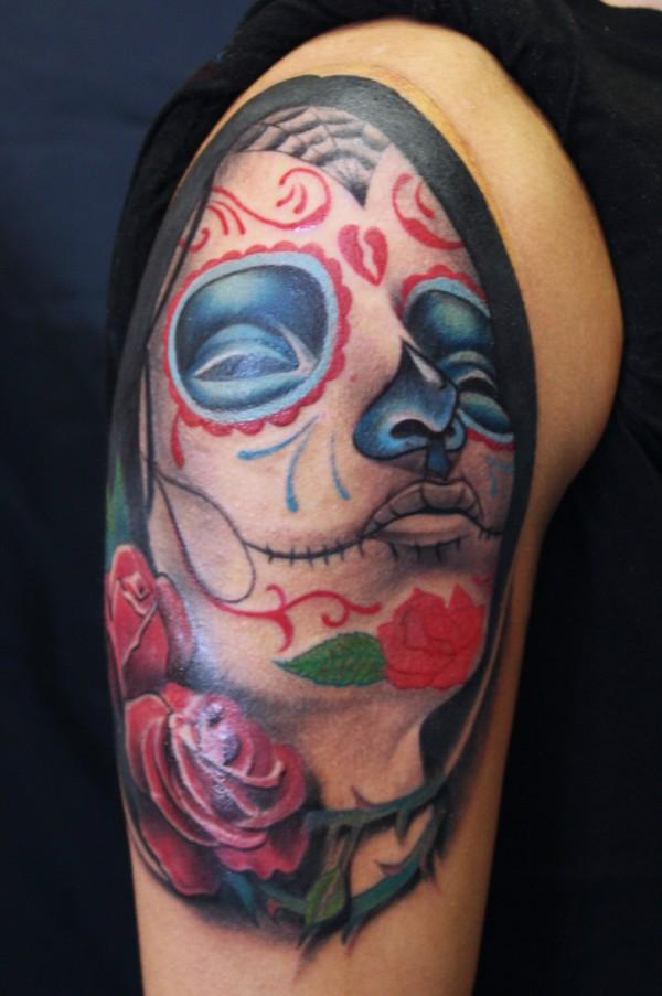 Mexican Katrina Skull Tattoo On Shoulder