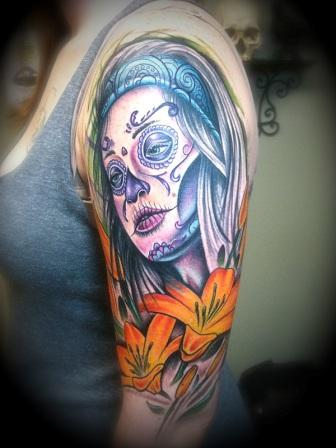 Mexican Lady And Flowers Tattoo On Arm